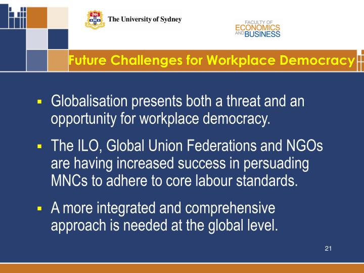 Future Challenges for Workplace Democracy