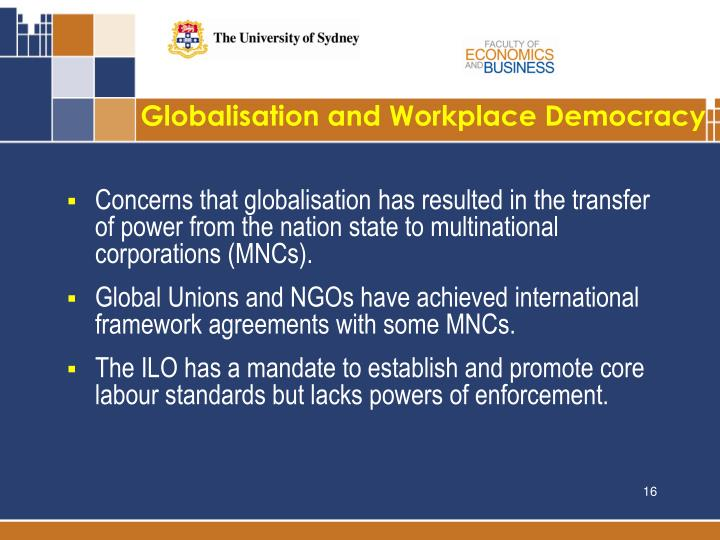 Globalisation and Workplace Democracy