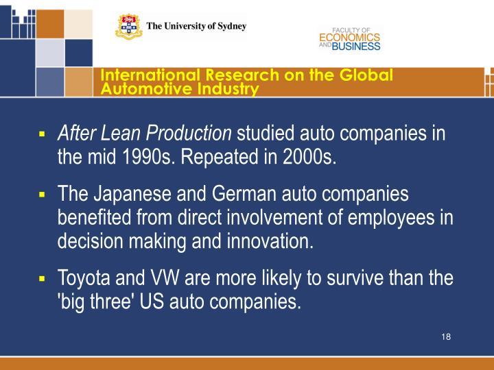 International Research on the Global Automotive Industry
