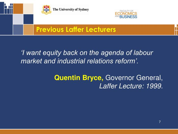 Previous Laffer Lecturers