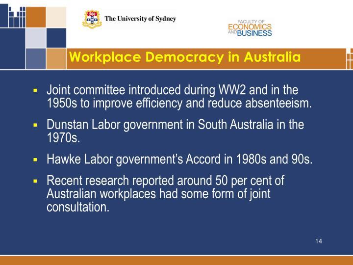 Workplace Democracy in Australia