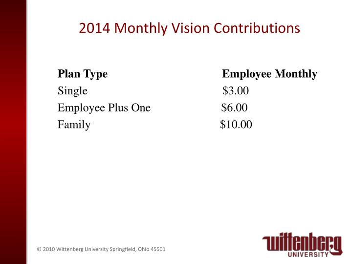 2014 Monthly Vision Contributions