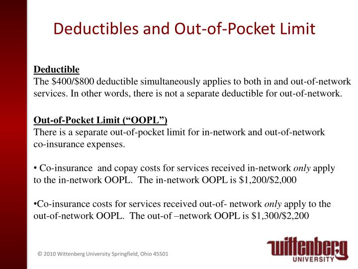 Deductibles and Out-of-Pocket Limit