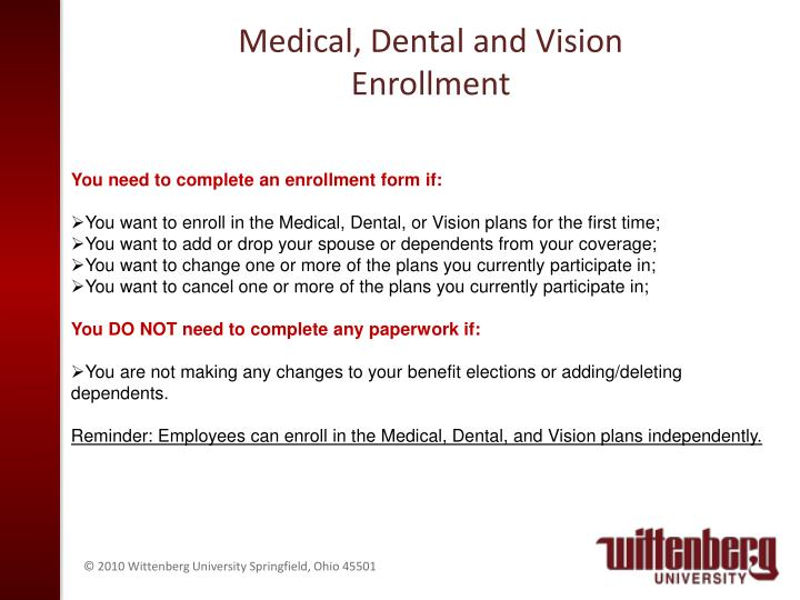 Medical, Dental and Vision