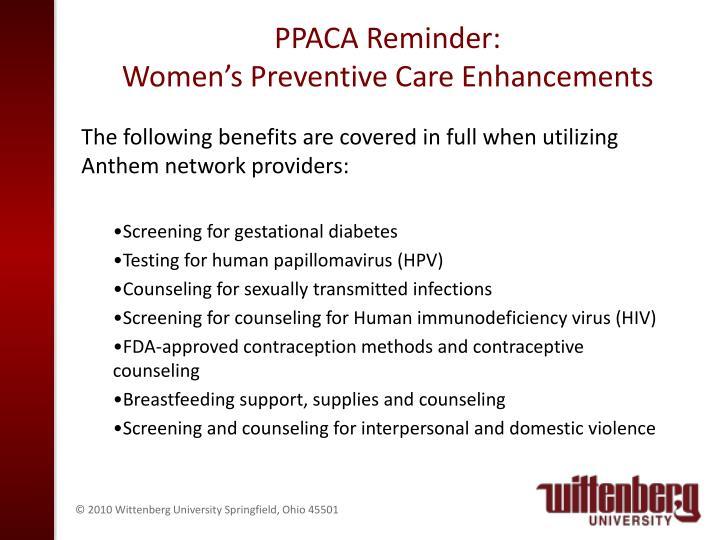 PPACA Reminder:
