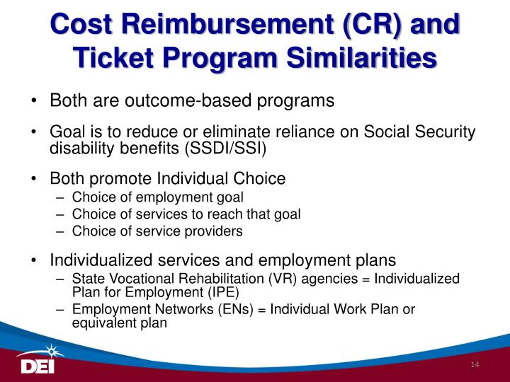 Cost Reimbursement (CR) and Ticket Program Similarities