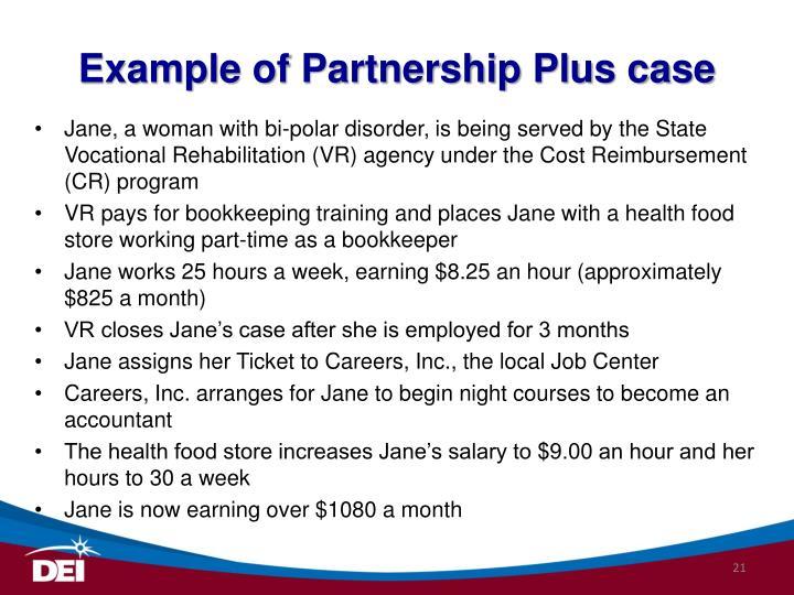Example of Partnership Plus case