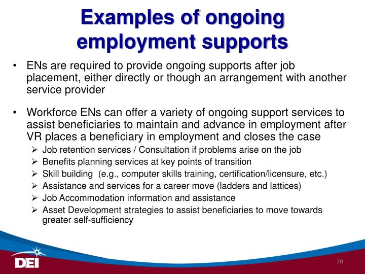 Examples of ongoing employment supports