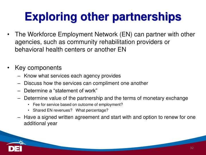 Exploring other partnerships