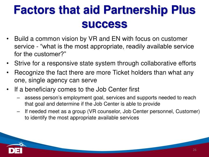 Factors that aid Partnership Plus success