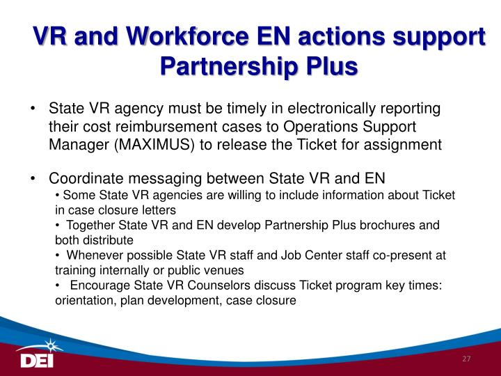 VR and Workforce EN actions support Partnership Plus