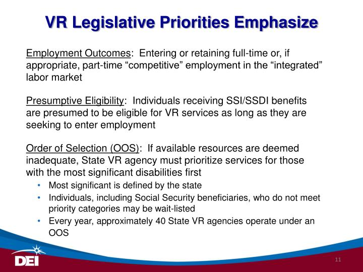 VR Legislative Priorities Emphasize