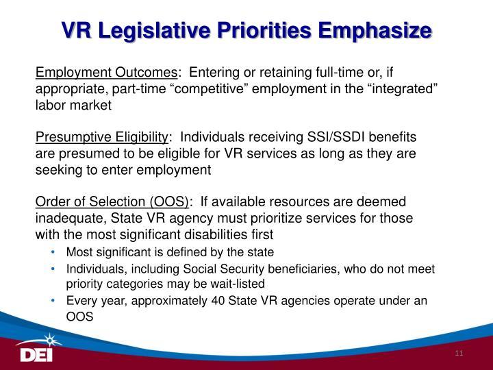 VR Legislative Priorities Emphasize