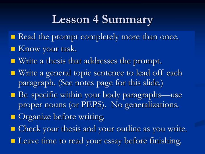 Lesson 4 Summary