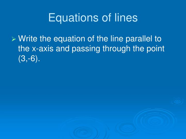 Equations of lines