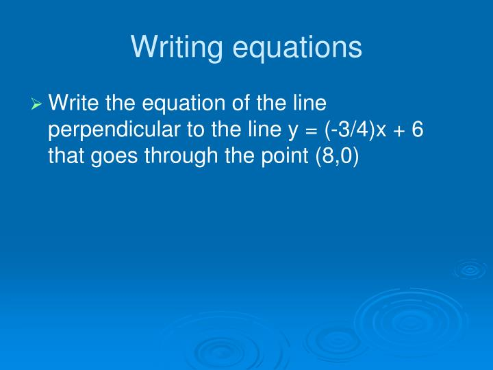 Writing equations