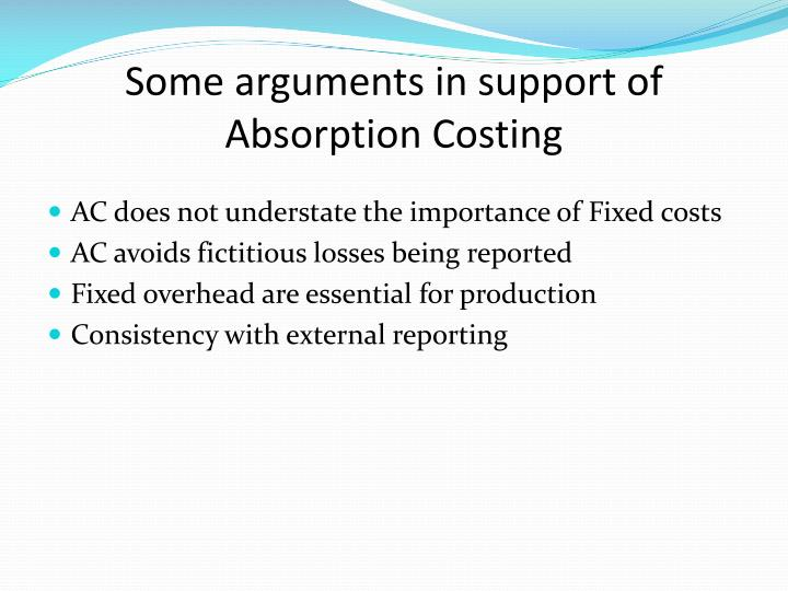 Some arguments in support of Absorption Costing