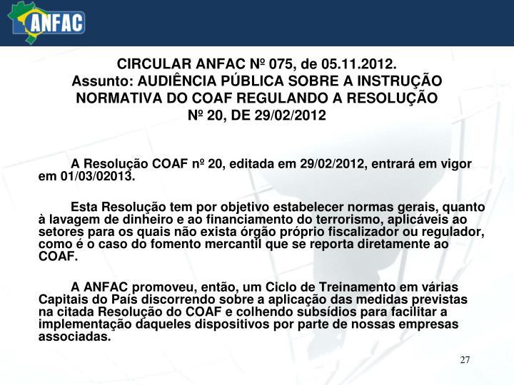 CIRCULAR ANFAC Nº 075, de 05.11.2012.
