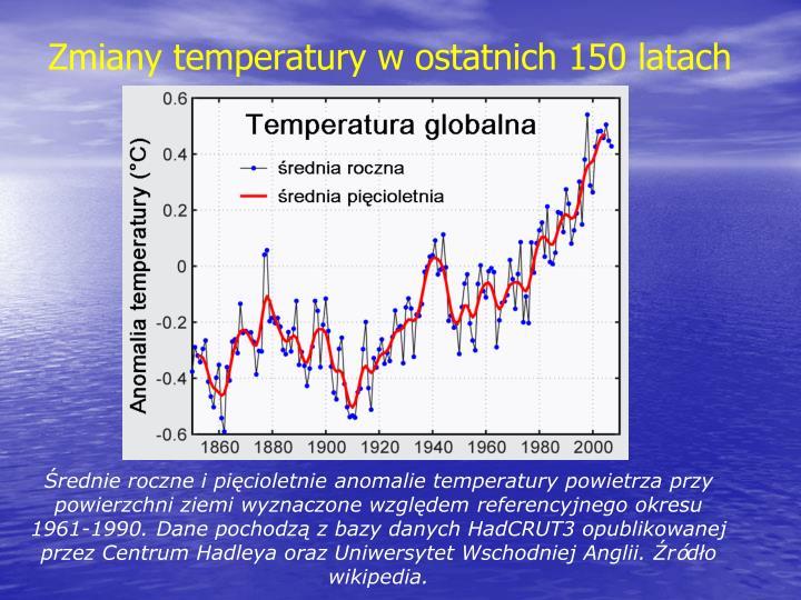 Zmiany temperatury w ostatnich 150 latach