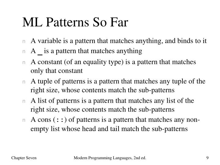 ML Patterns So Far