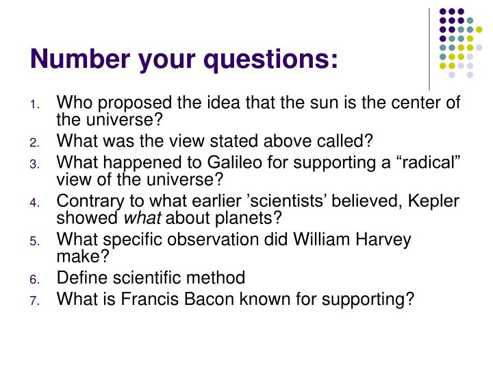 Number your questions: