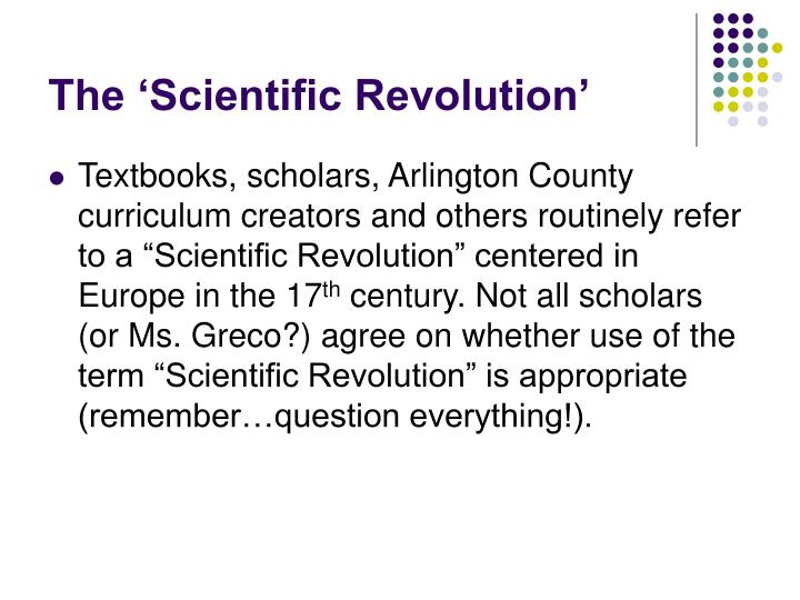 The 'Scientific Revolution'