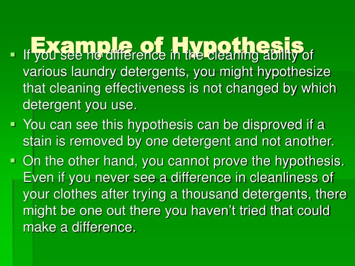 Example of Hypothesis