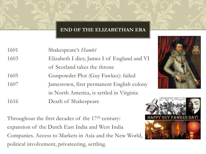 End of the elizabethan era