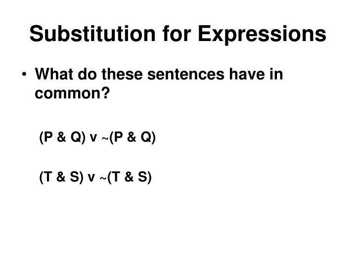 Substitution for Expressions