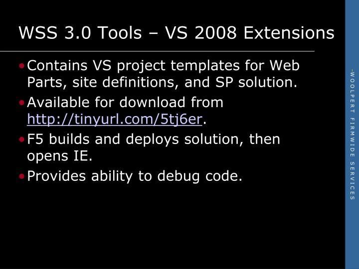 WSS 3.0 Tools – VS 2008 Extensions