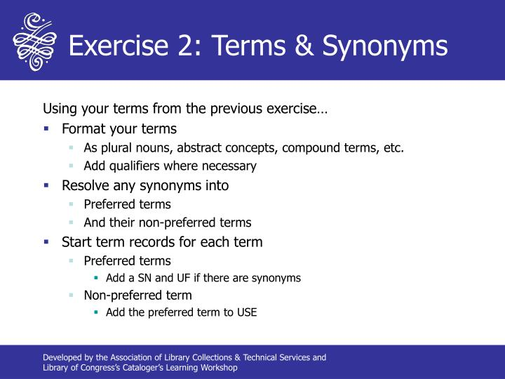 Exercise 2: Terms & Synonyms