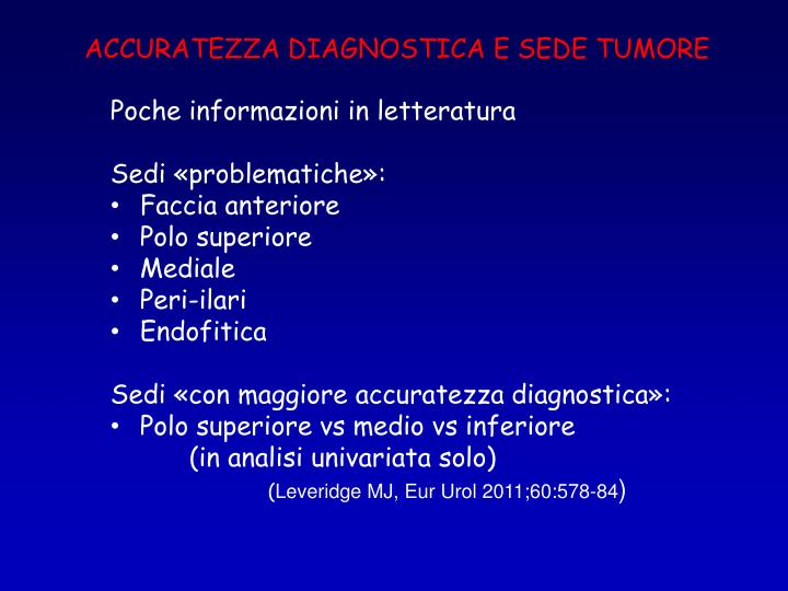 ACCURATEZZA DIAGNOSTICA E SEDE TUMORE