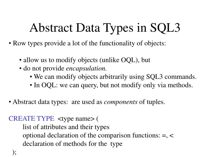 Abstract Data Types in SQL3
