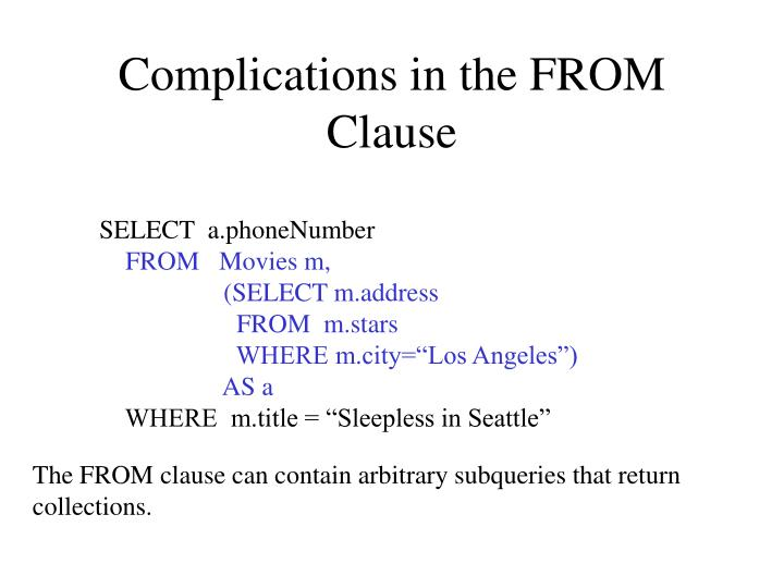 Complications in the FROM Clause