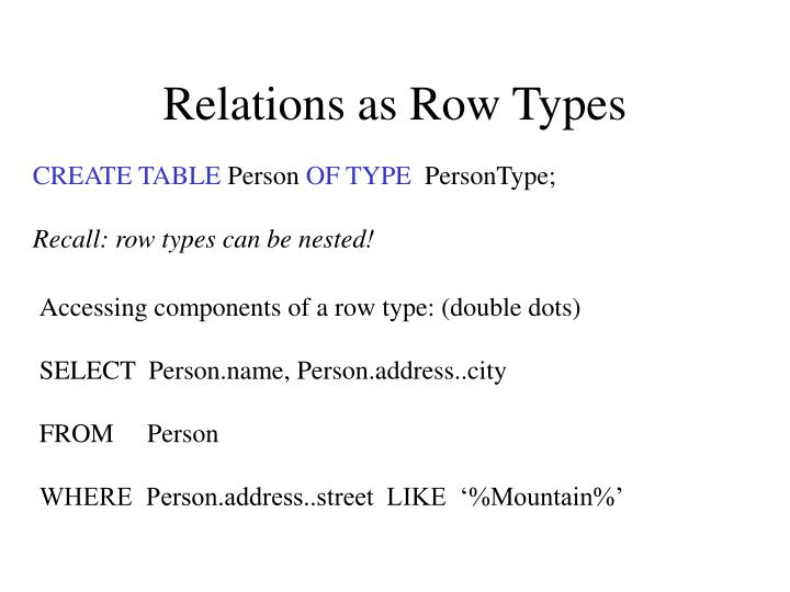 Relations as Row Types