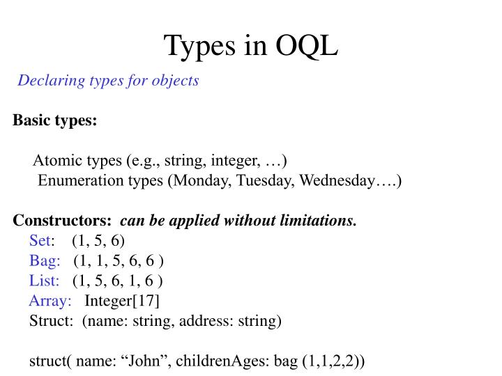 Types in OQL