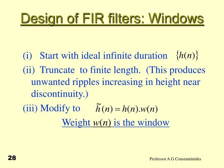 Design of FIR filters: Windows