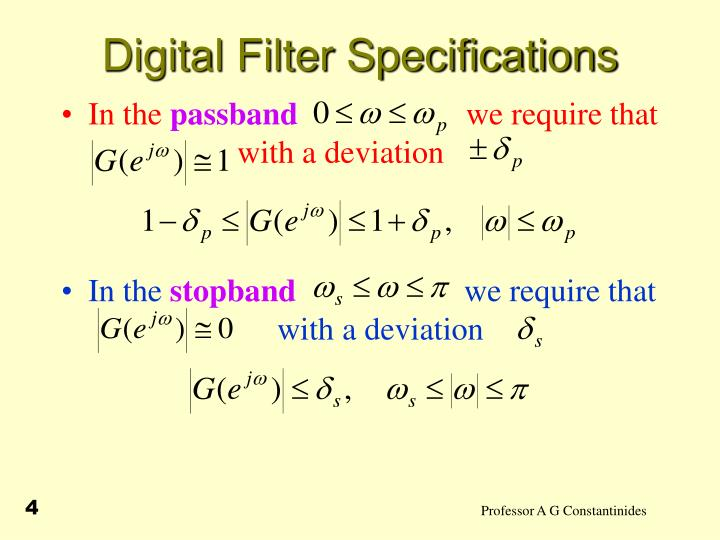 Digital Filter Specifications