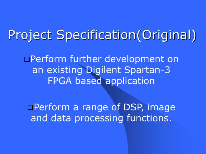 Project Specification(Original)