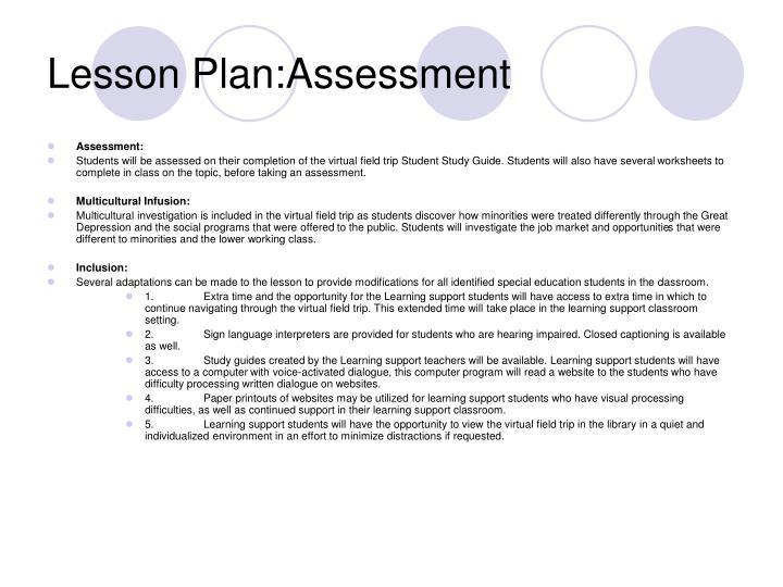 Lesson Plan:Assessment