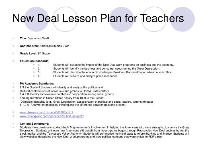 New Deal Lesson Plan for Teachers