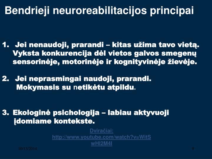 Bendrieji neuroreabilitacijos principai