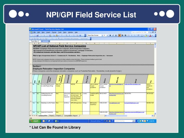 NPI/GPI Field Service List