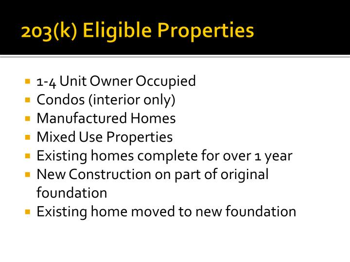 203(k) Eligible Properties