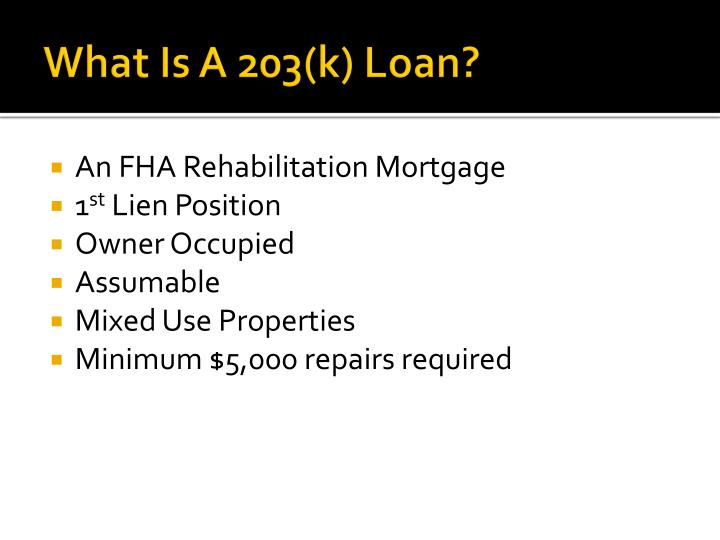 What Is A 203(k) Loan?