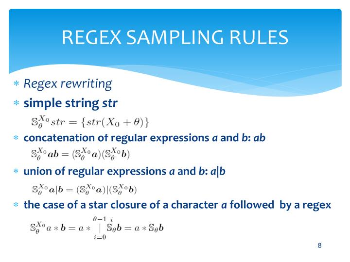 REGEX SAMPLING RULES