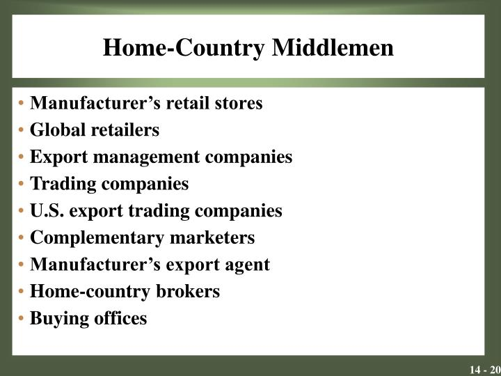 Home-Country Middlemen