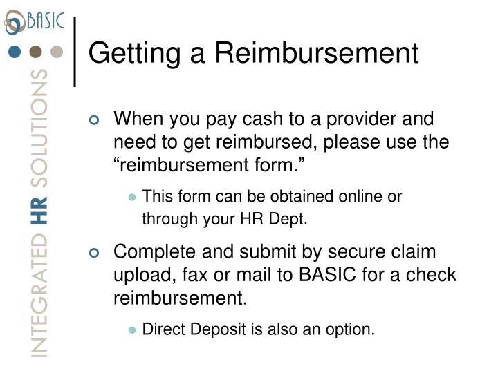 Getting a Reimbursement