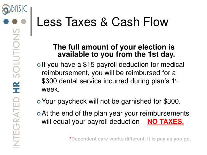 Less Taxes & Cash Flow