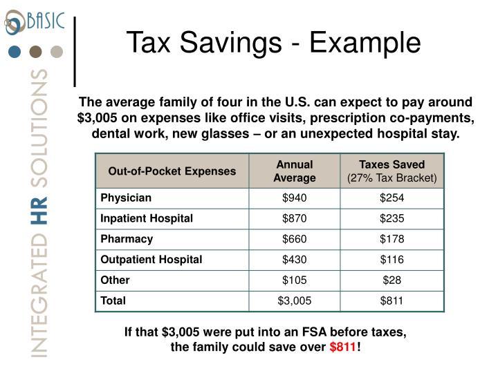 Tax Savings - Example